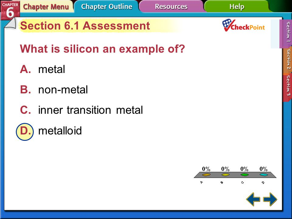 A B C D Section 6.1 Assessment What is silicon an example of A. metal