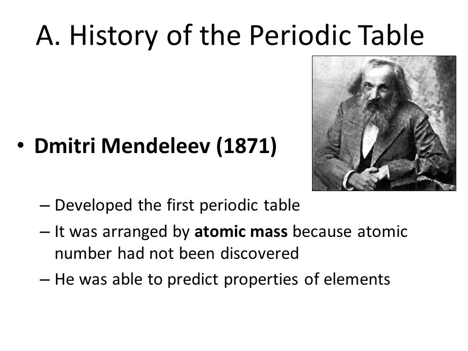 A. History of the Periodic Table