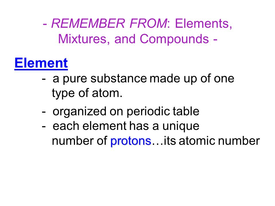 - REMEMBER FROM: Elements, Mixtures, and Compounds -