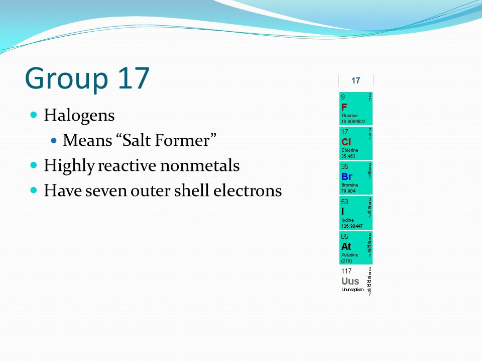 Group 17 Halogens Means Salt Former Highly reactive nonmetals