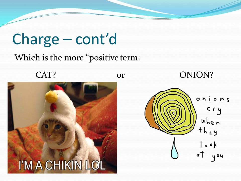 Charge – cont'd Which is the more positive term: CAT or ONION