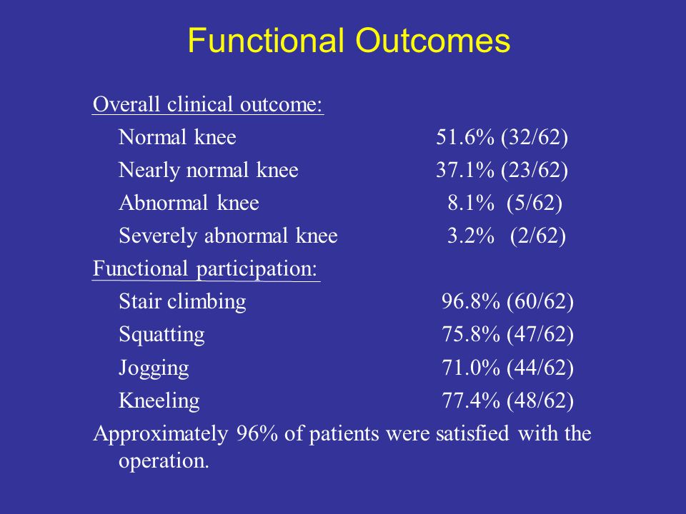 Functional Outcomes Overall clinical outcome: