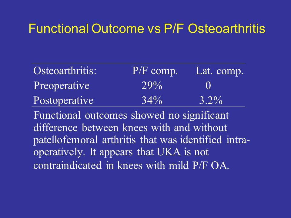 Functional Outcome vs P/F Osteoarthritis