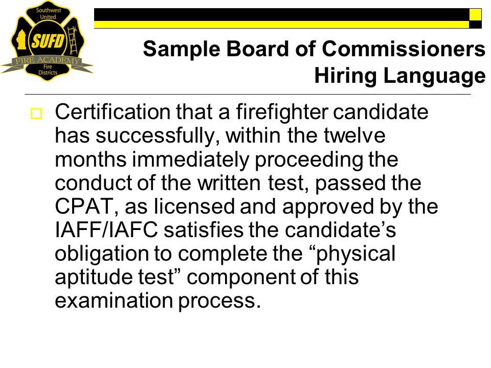 Sample Board of Commissioners Hiring Language