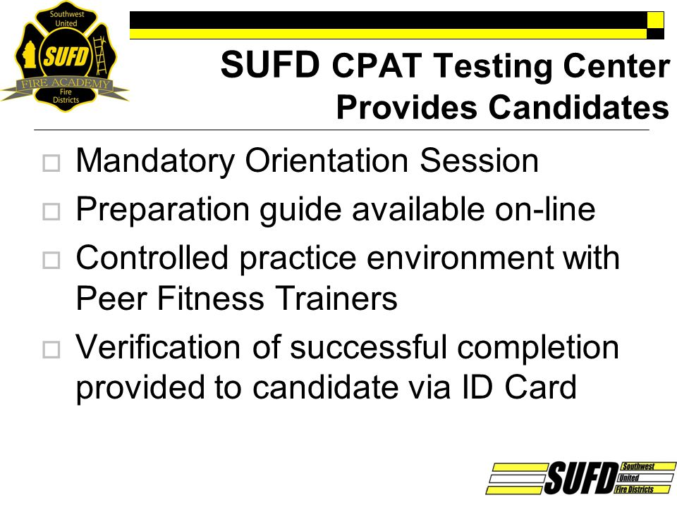 SUFD CPAT Testing Center Provides Candidates