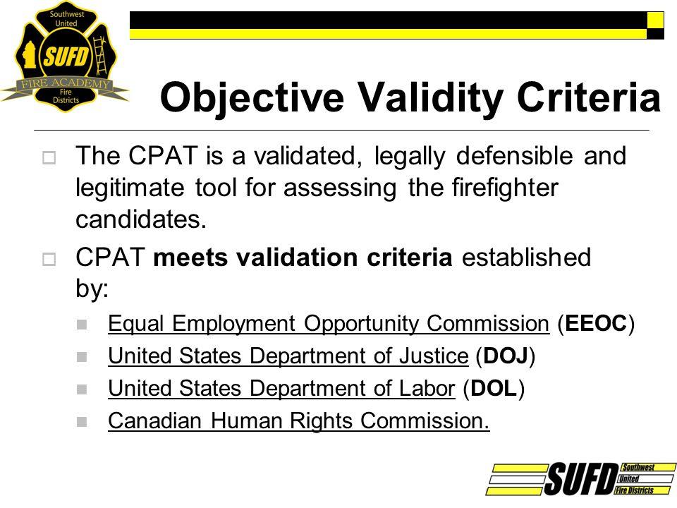 Objective Validity Criteria