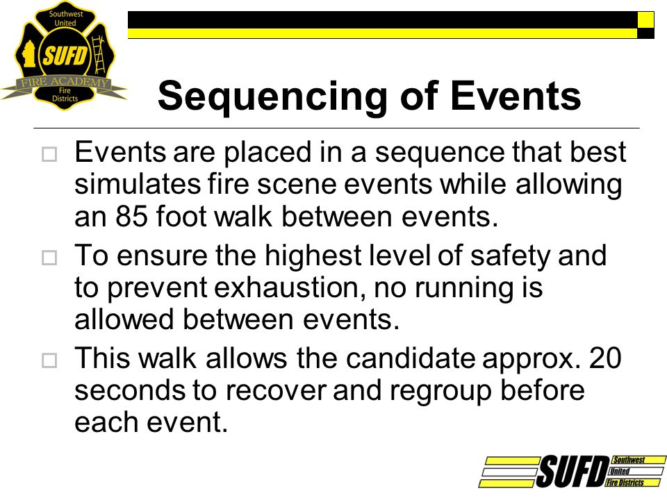 Sequencing of Events Events are placed in a sequence that best simulates fire scene events while allowing an 85 foot walk between events.