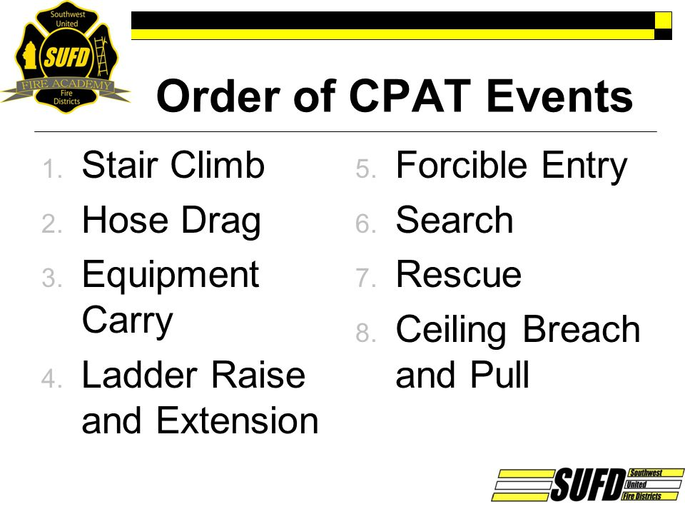 Order of CPAT Events Stair Climb Hose Drag Equipment Carry