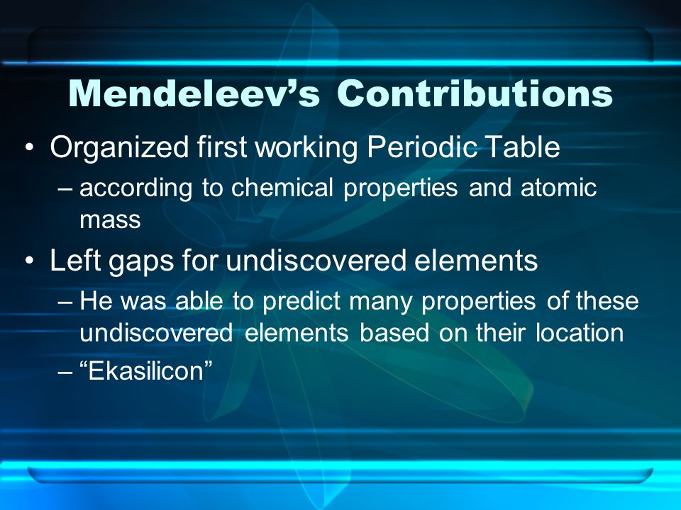 Mendeleev's Contributions