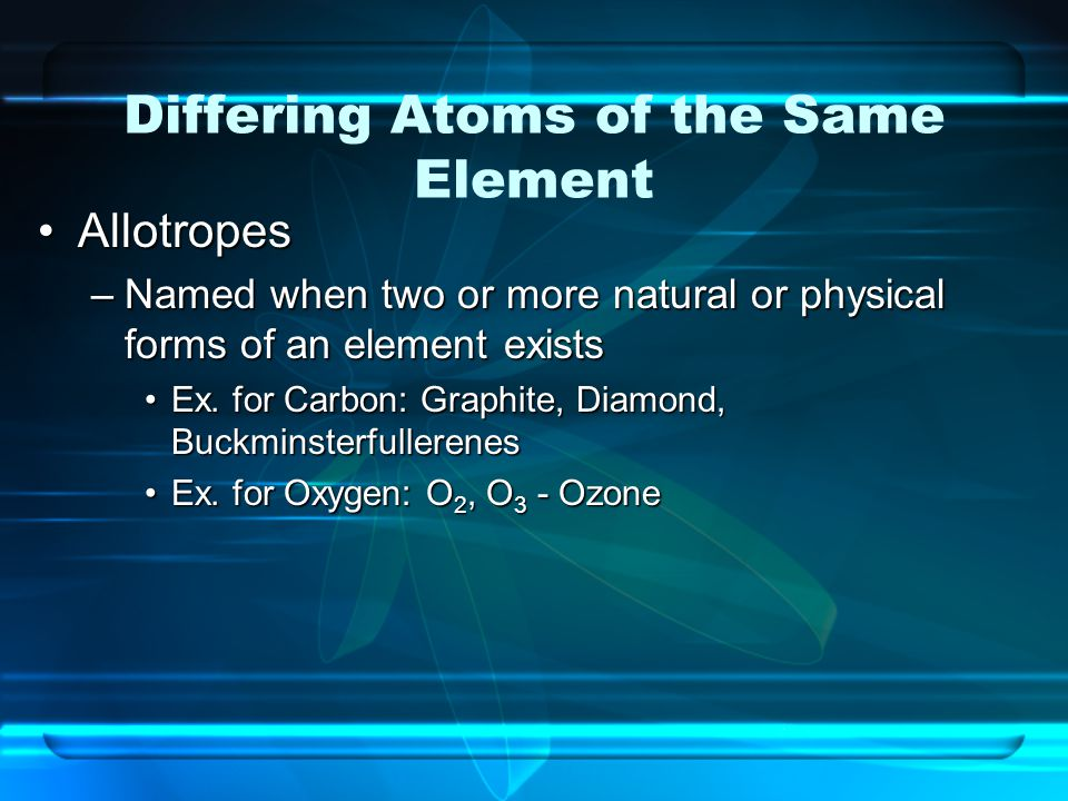 Differing Atoms of the Same Element