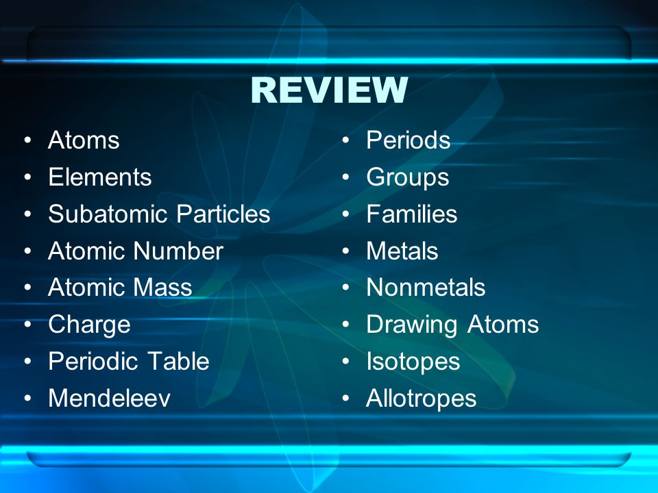 REVIEW Atoms Elements Subatomic Particles Atomic Number Atomic Mass