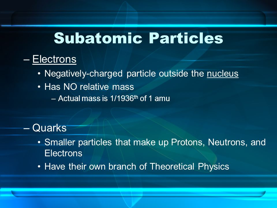 Subatomic Particles Electrons Quarks