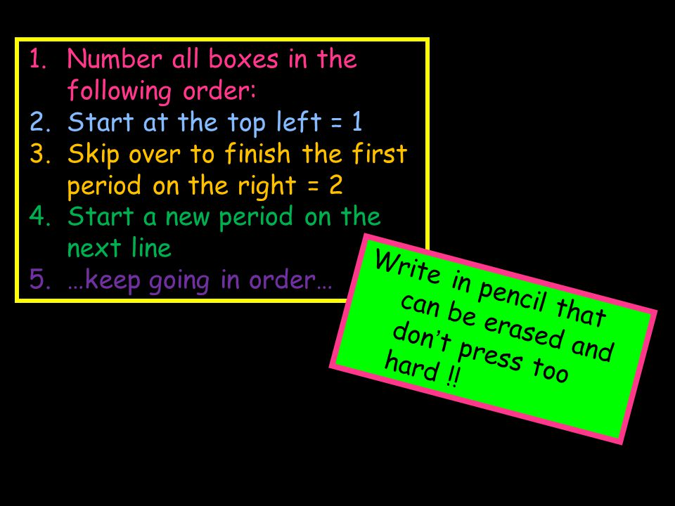 Number all boxes in the following order: