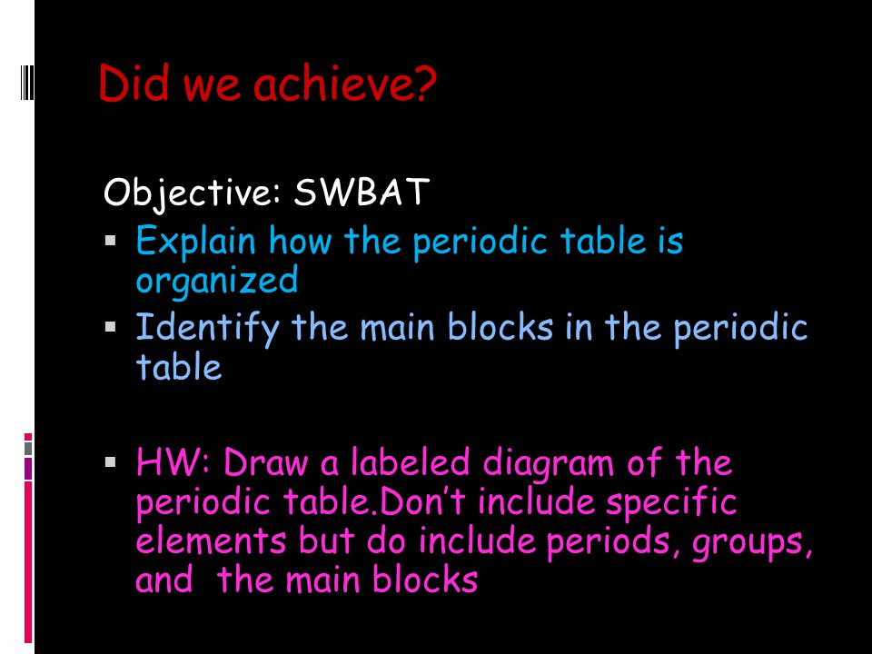 Did we achieve Objective: SWBAT