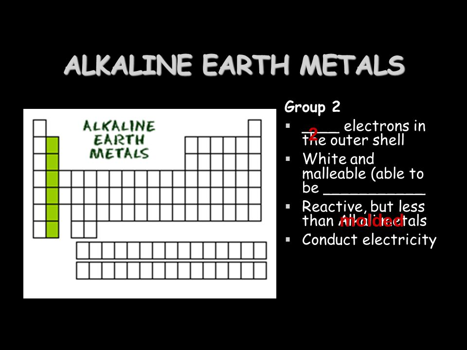 ALKALINE EARTH METALS 2 molded Group 2
