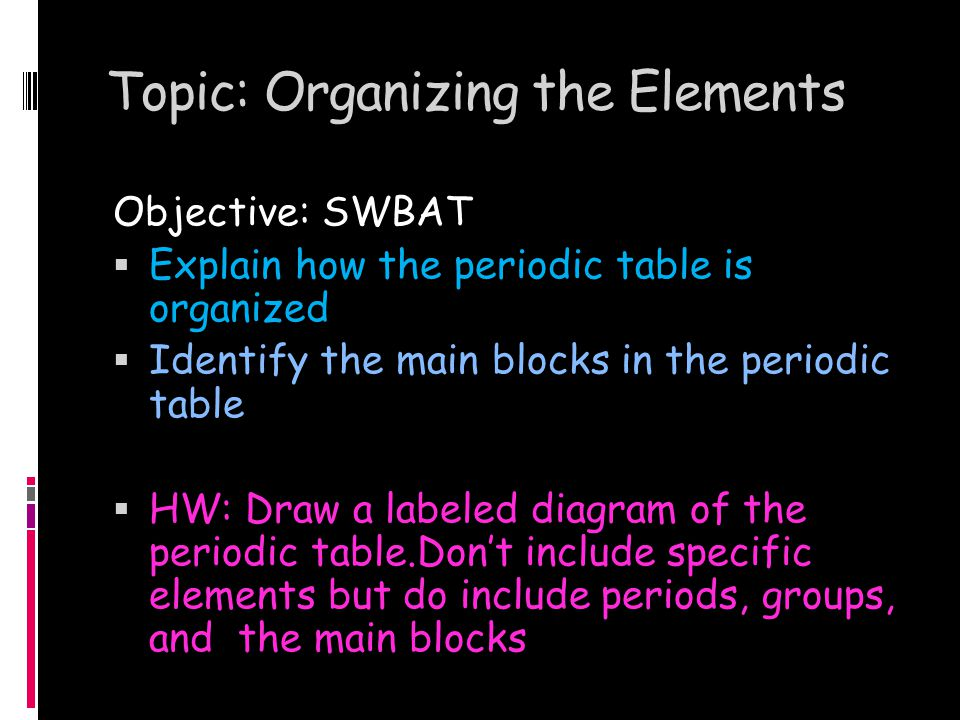 Topic: Organizing the Elements