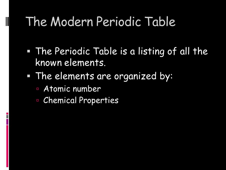 The Modern Periodic Table