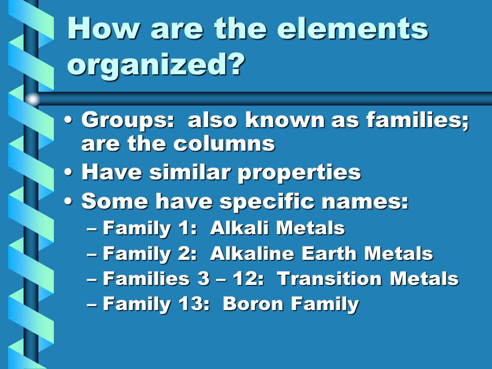 How are the elements organized