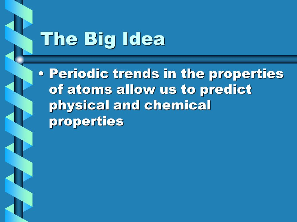 The Big Idea Periodic trends in the properties of atoms allow us to predict physical and chemical properties.