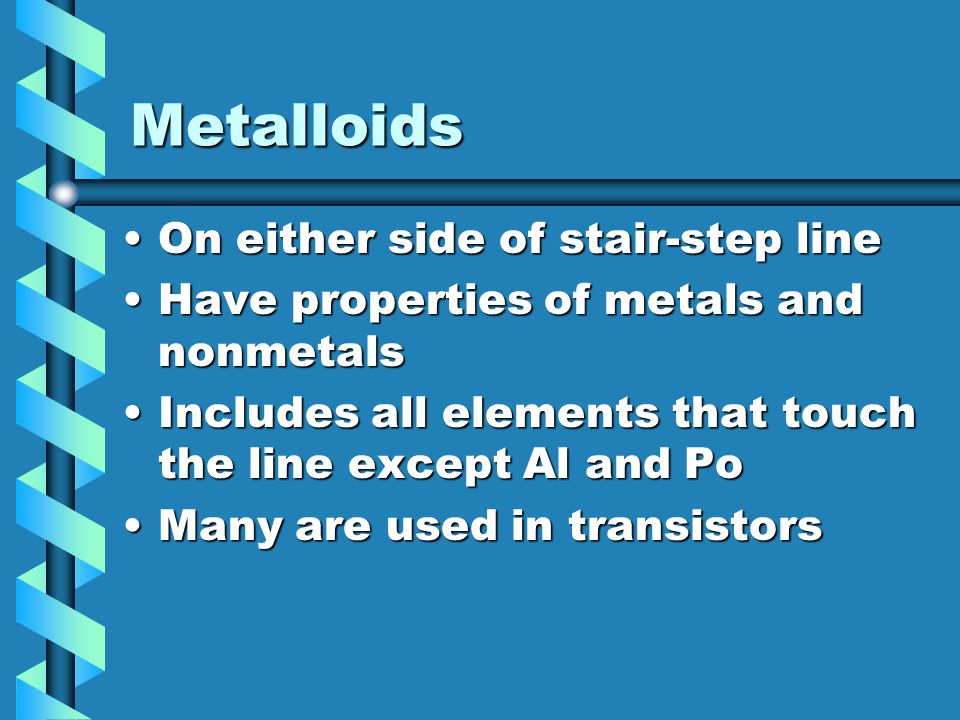 Metalloids On either side of stair-step line