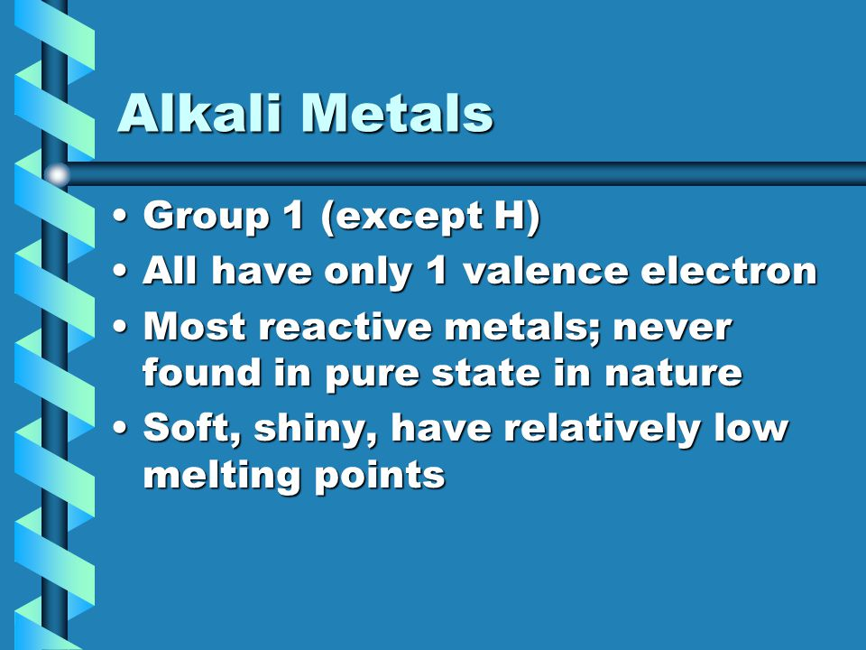 Alkali Metals Group 1 (except H) All have only 1 valence electron