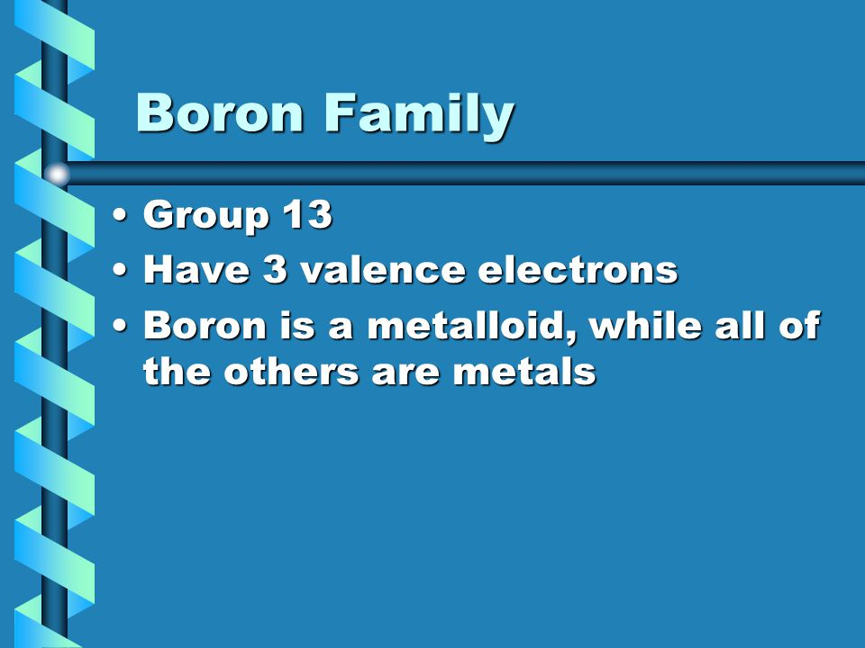 Boron Family Group 13 Have 3 valence electrons