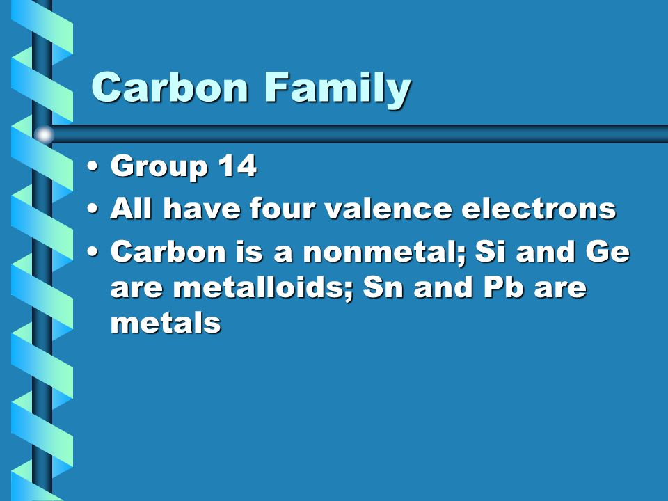 Carbon Family Group 14 All have four valence electrons