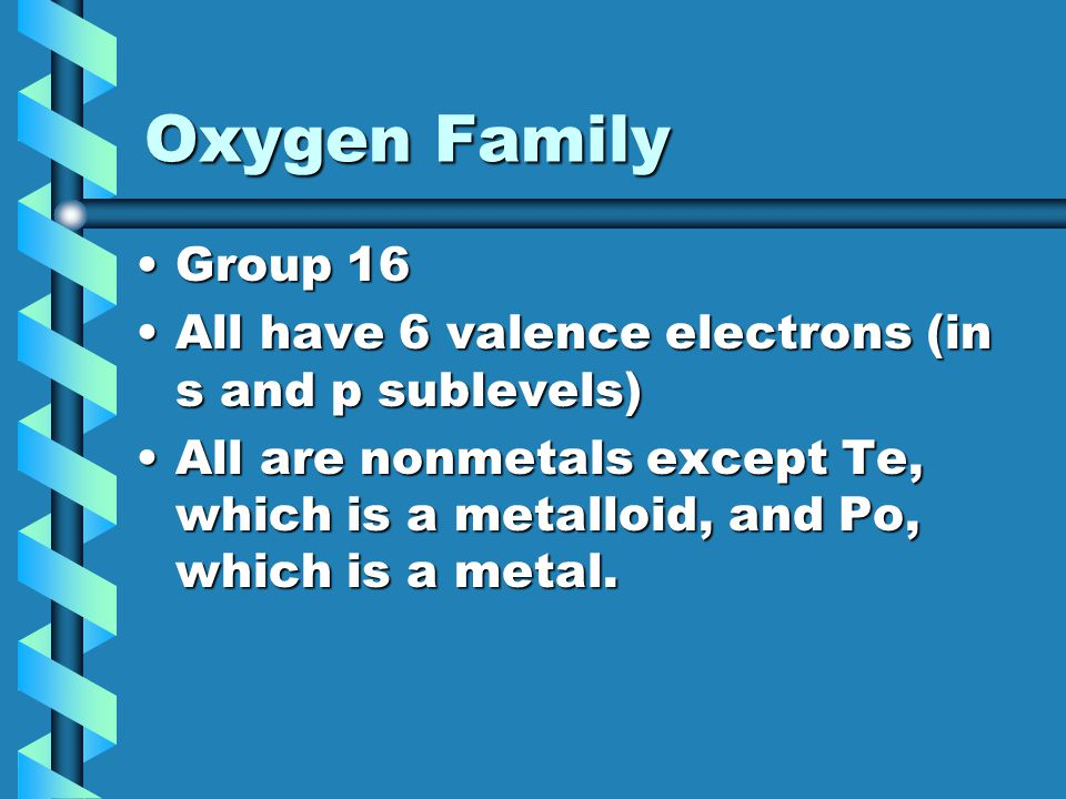 Oxygen Family Group 16. All have 6 valence electrons (in s and p sublevels)