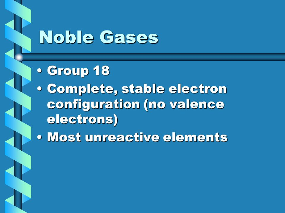 Noble Gases Group 18.
