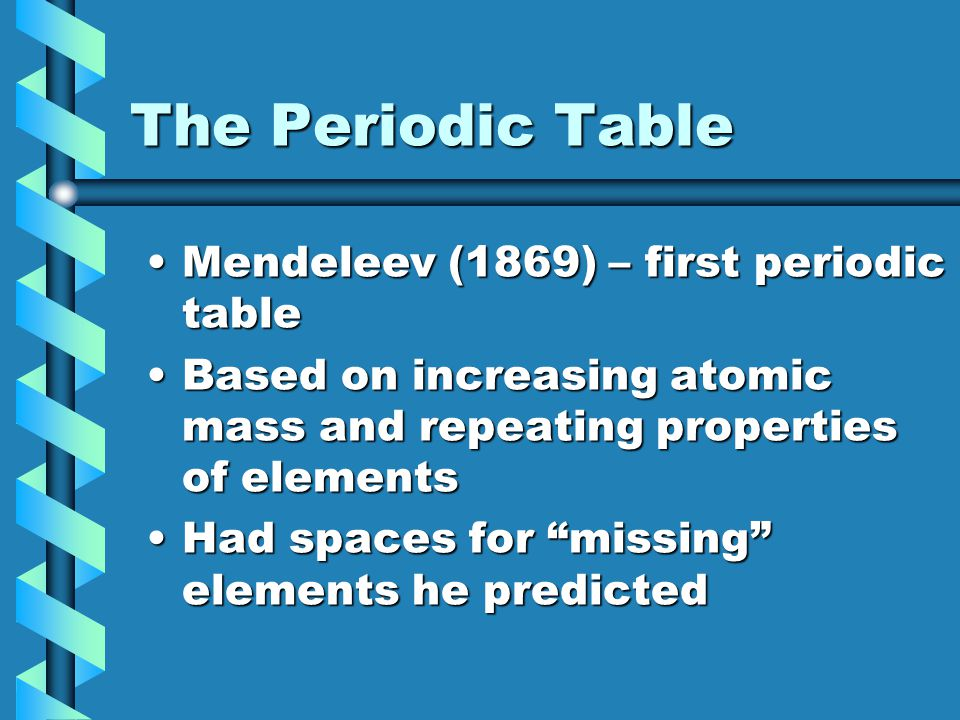 The Periodic Table Mendeleev (1869) – first periodic table