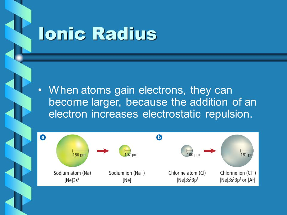Ionic Radius When atoms gain electrons, they can become larger, because the addition of an electron increases electrostatic repulsion.