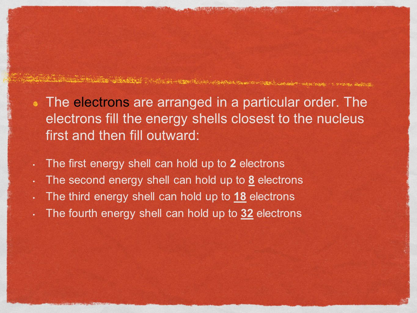 The electrons are arranged in a particular order