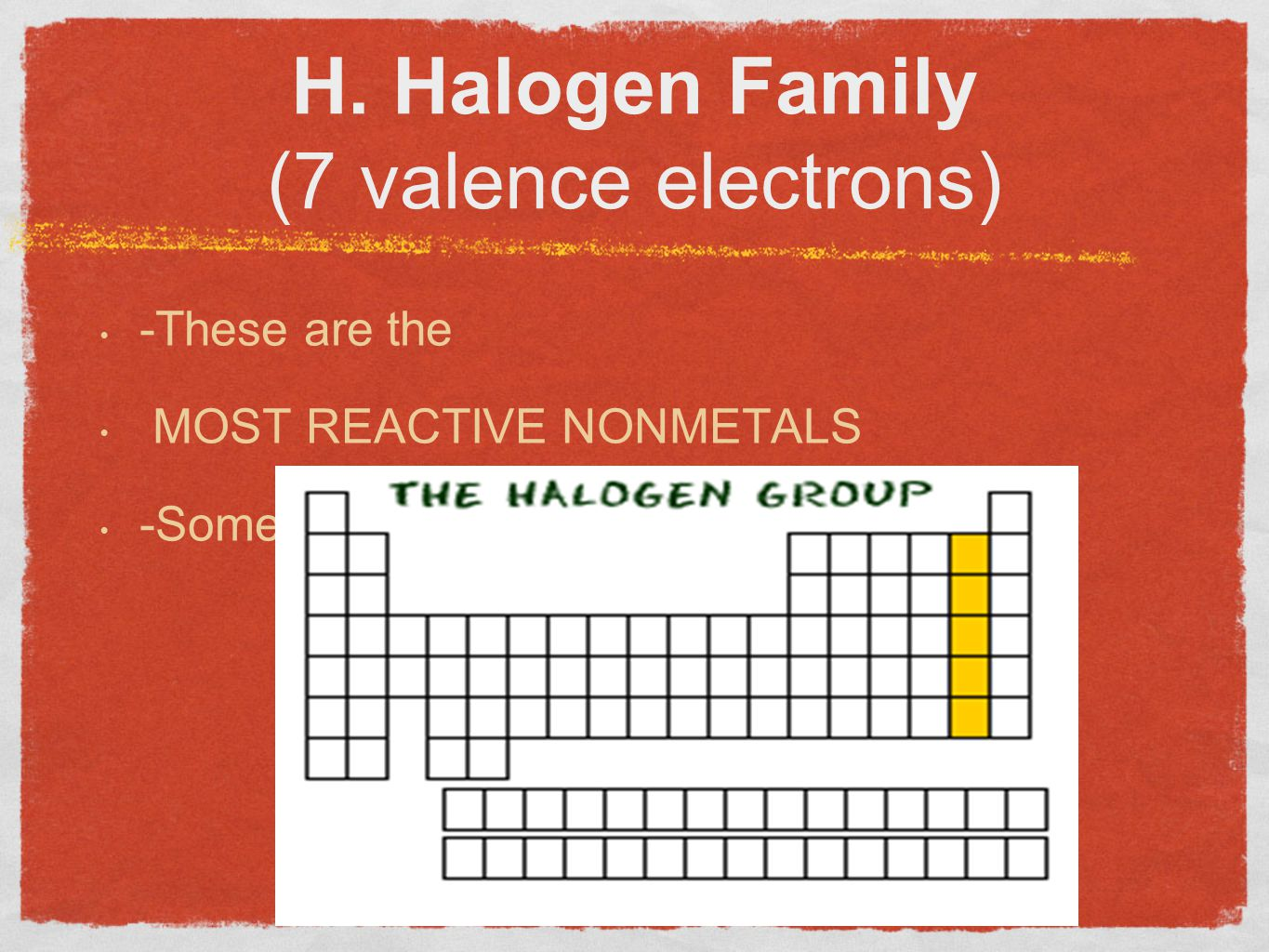 H. Halogen Family (7 valence electrons)