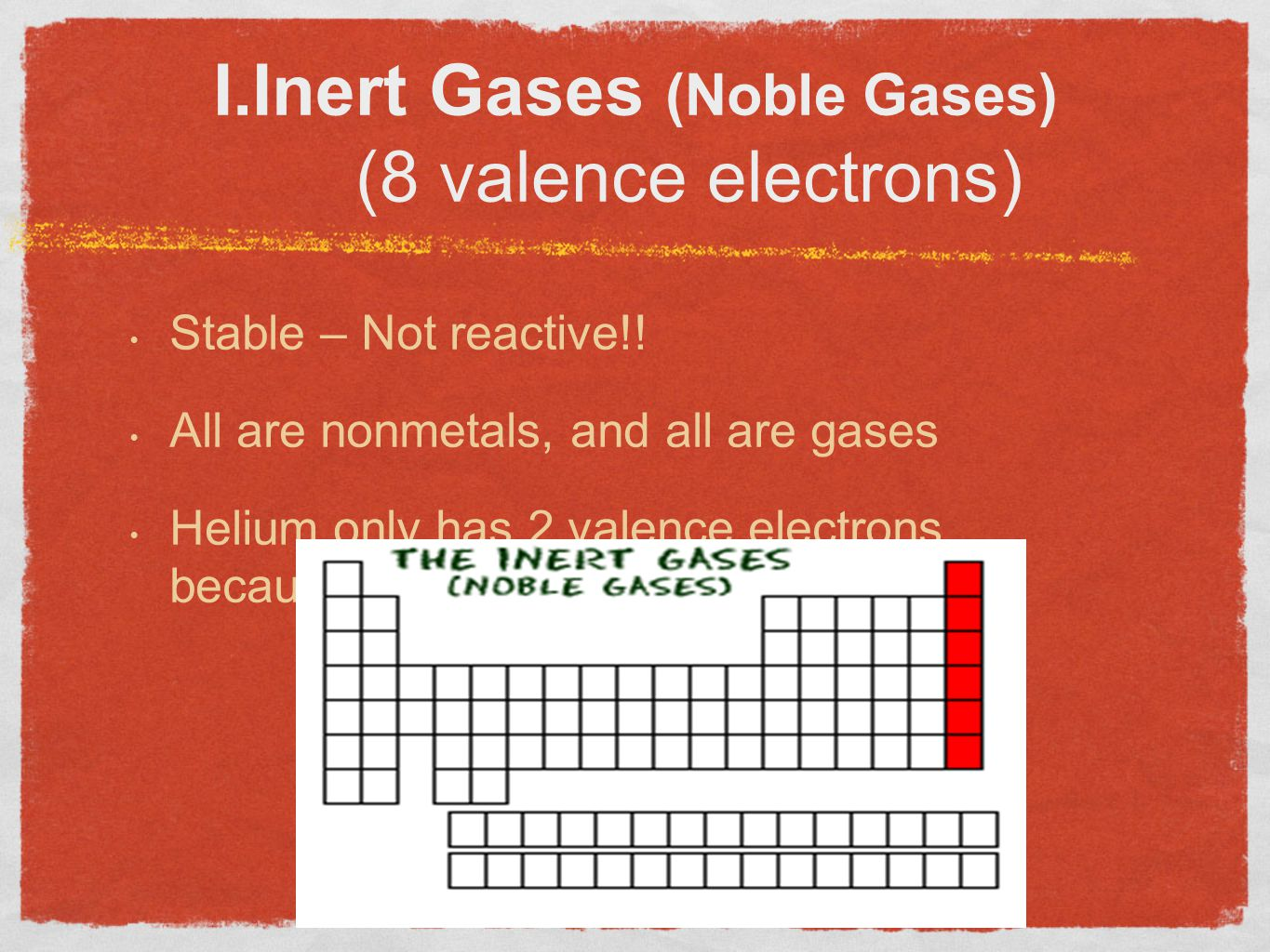 I.Inert Gases (Noble Gases) (8 valence electrons)