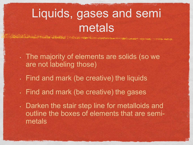 Liquids, gases and semi metals