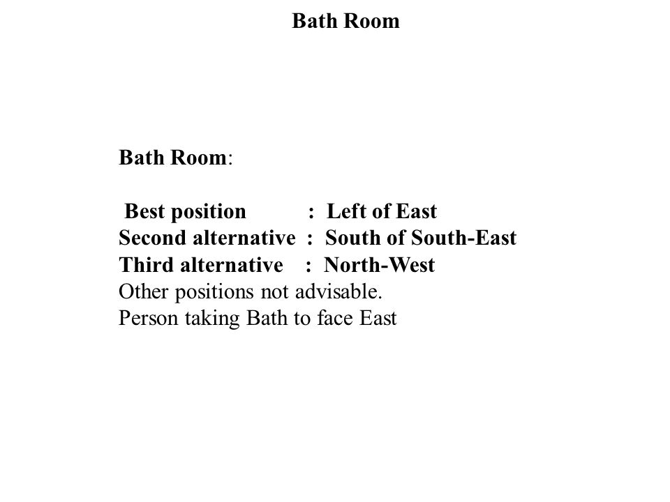 Bath Room Bath Room: Best position : Left of East. Second alternative : South of South-East.