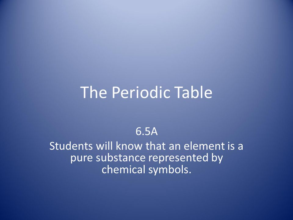 The Periodic Table 6.5A.