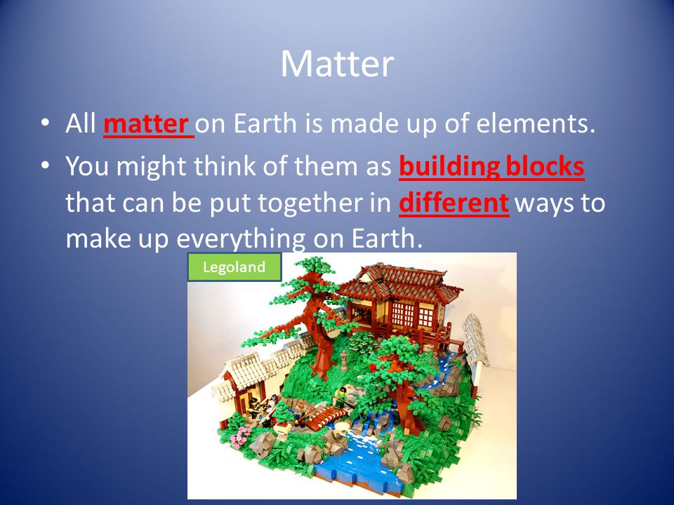 Matter All matter on Earth is made up of elements.