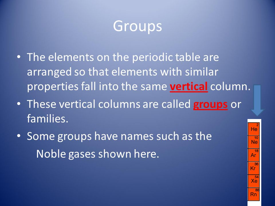 Groups The elements on the periodic table are arranged so that elements with similar properties fall into the same vertical column.