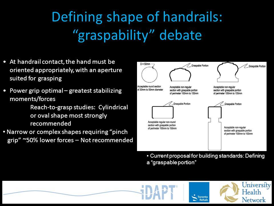 Defining shape of handrails: graspability debate