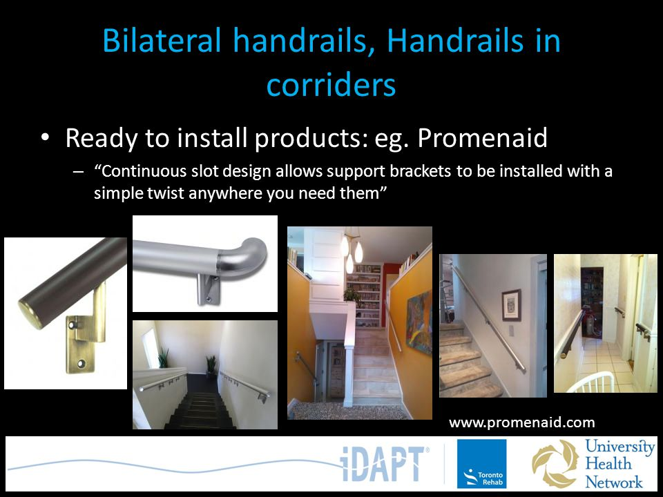 Bilateral handrails, Handrails in corriders