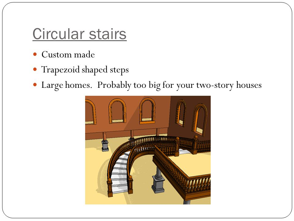 Circular stairs Custom made Trapezoid shaped steps