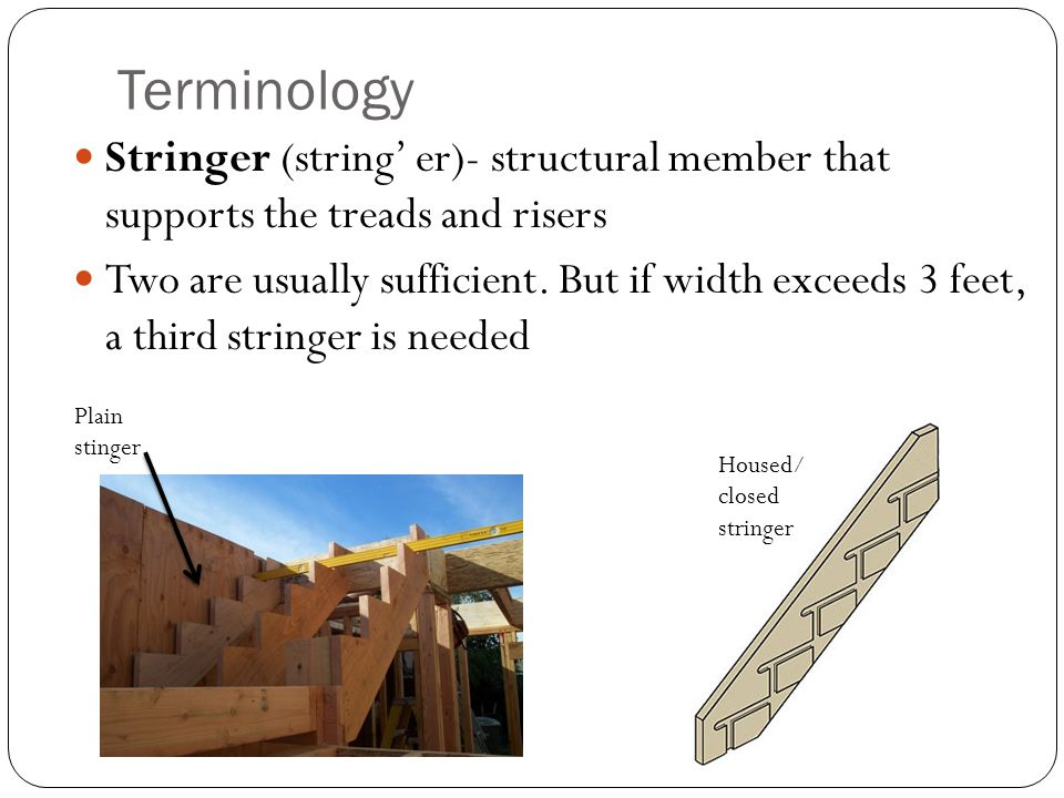 Terminology Stringer (string' er)- structural member that supports the treads and risers.