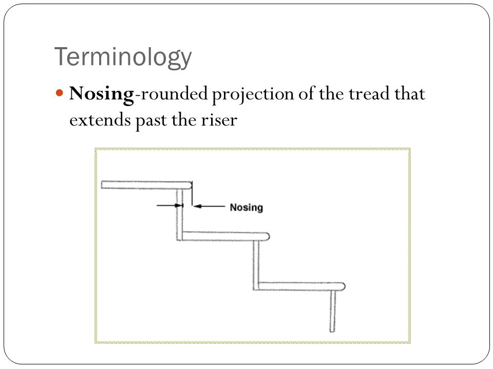 Terminology Nosing-rounded projection of the tread that extends past the riser