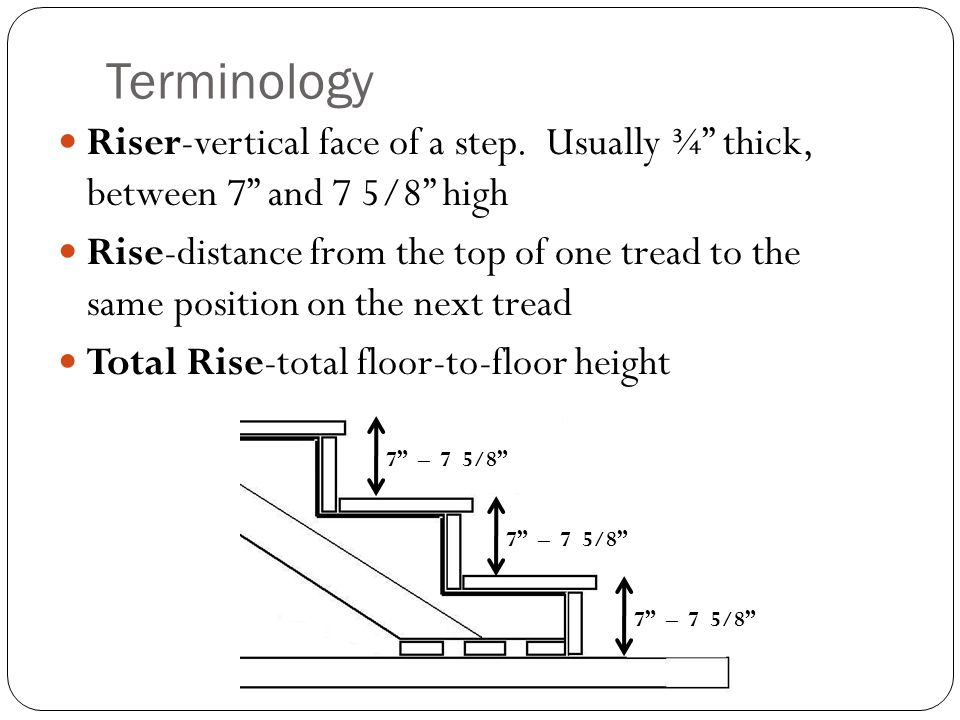 Terminology Riser-vertical face of a step. Usually ¾ thick, between 7 and 7 5/8 high.