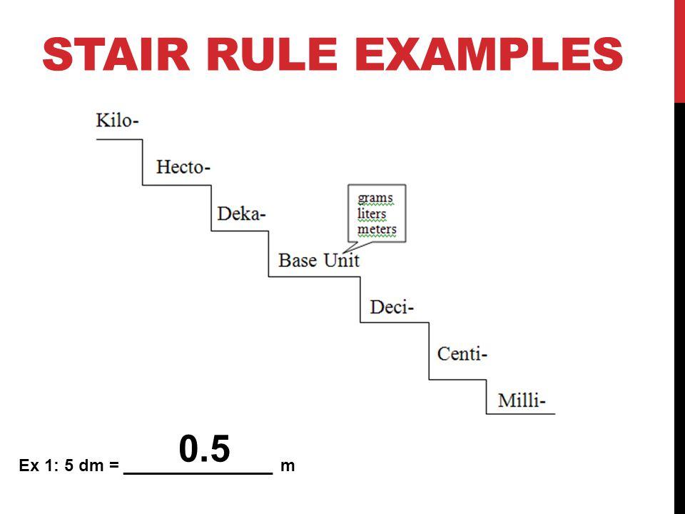 Stair Rule Examples 0.5 Ex 1: 5 dm = ________________ m