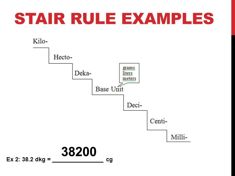 Stair Rule Examples 38200 Ex 2: 38.2 dkg = ________________ cg