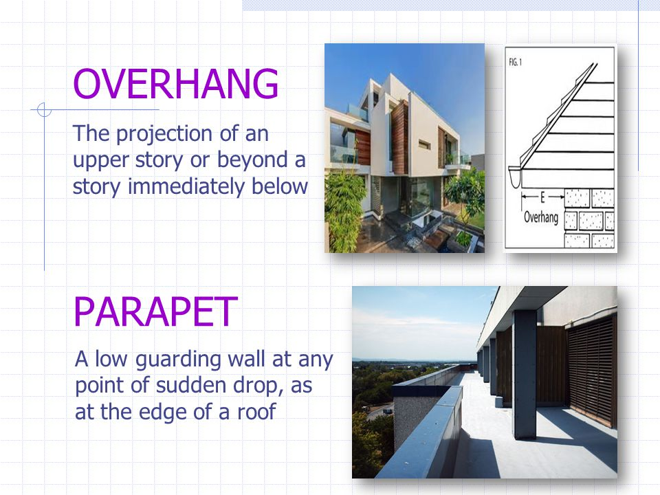 OVERHANG The projection of an upper story or beyond a story immediately below. PARAPET.