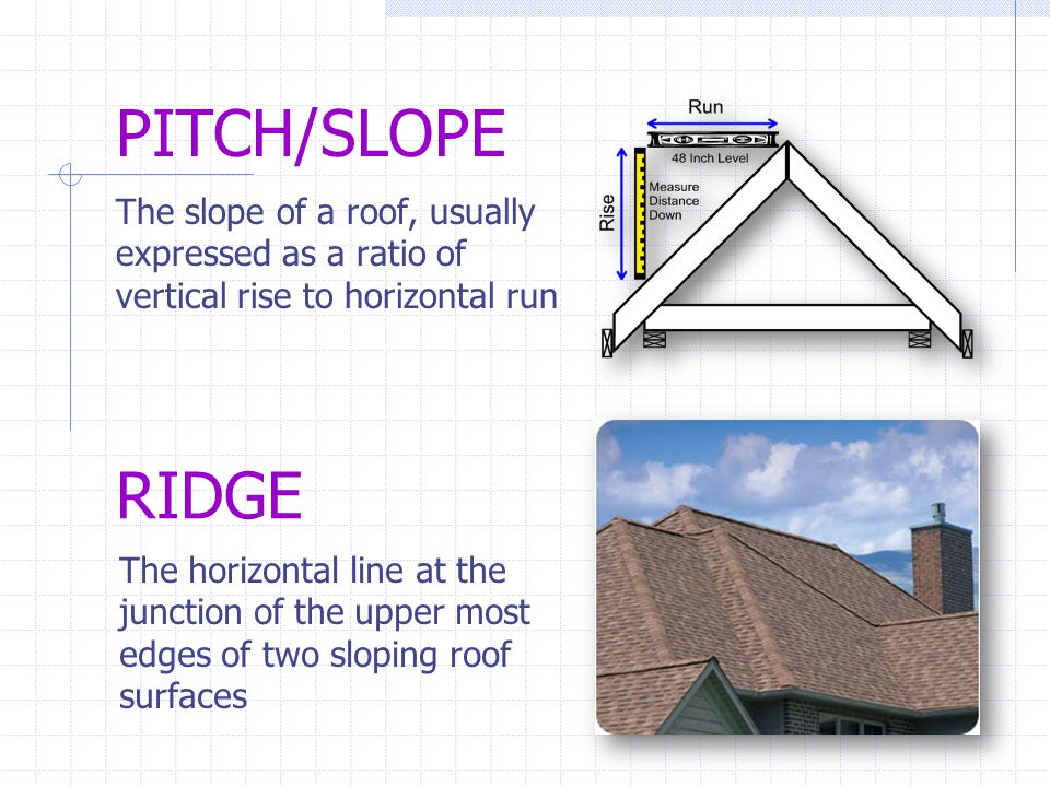 PITCH/SLOPE The slope of a roof, usually expressed as a ratio of vertical rise to horizontal run. RIDGE.