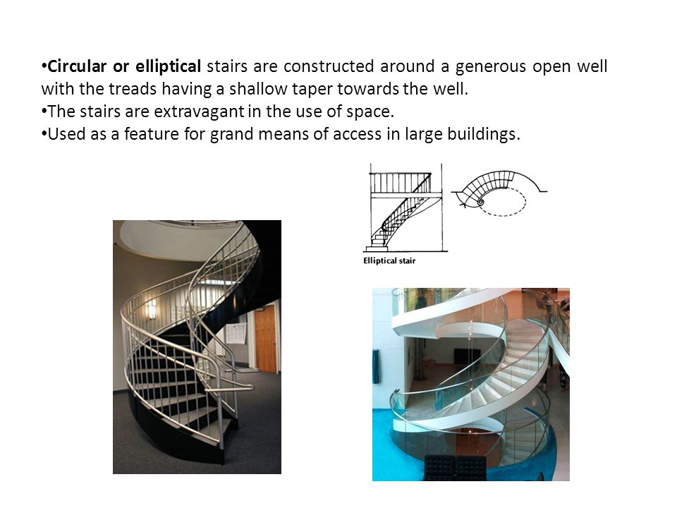 Circular or elliptical stairs are constructed around a generous open well with the treads having a shallow taper towards the well.